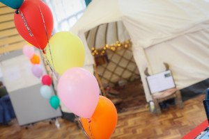 inside our wellbeing day yurt for employee workshops